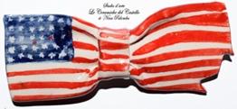 Fliege Keramik Flag Linie USA Piece Unique Hergestellt und von Hand bemalt Le Ceramiche del Castello Made in Italy Maße: 10 x 4 cm -
