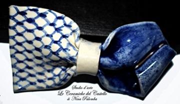 Fliege Keramik Klassischen Linie Linie Piece Unique Hergestellt und von Hand bemalt Le Ceramiche del Castello Made in Italy Maße: 10 x 5 cm -