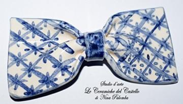 Fliege Keramik Klassischen Linie Piece Unique Hergestellt und von Hand bemalt Le Ceramiche del Castello Made in Italy Maße: 9.5 x 4.5 cm -