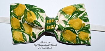 Fliege Keramik Zitronen Linie Piece Unique Hergestellt und von Hand bemalt Le Ceramiche del Castello Made in Italy Maße: 10 x 5 cm. -