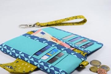 Geldbeutel Brieftasche Portemonnaie aus Designerstoffen, Handgefertigt Einzelstück Unikat -