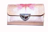 Geldbörse aus Leder mit Libelle bestickt - EINZELSTÜCK -
