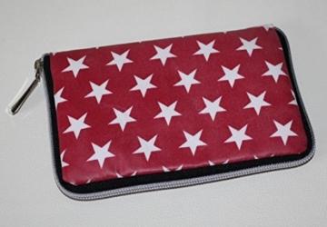 Geldbörse | Portemonnaie | Brieftasche | Geldbeutel | Clutch | umlaufender Reißverschluß | Handarbeit | Unikat | rot Sterne weiß -