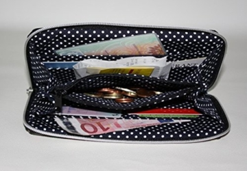 Geldbörse | Portemonnaie | Brieftasche | Geldbeutel | Clutch | umlaufender Reißverschluß | Handarbeit | Unikat | Punkte Kreise Blumen retro -