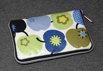 Geldbörse   Portemonnaie   Brieftasche   Geldbeutel   Clutch   umlaufender Reißverschluß   Handarbeit   Unikat   Äpfel blau grün retro -