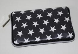 Geldbörse | Portemonnaie | Brieftasche | Geldbeutel | Clutch | umlaufender Reißverschluß | Handarbeit | Unikat | grau Sterne weiß -
