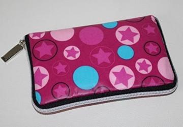 Geldbörse | Portemonnaie | Brieftasche | Geldbeutel | Clutch | umlaufender Reißverschluß | Handarbeit | Unikat | rosa türkis Sterne -