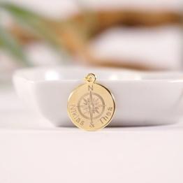 GEMEINSAM...Namenskette, personalisierte Kette mit Gravur, Gravurkette, Kompasskette, vergoldet -