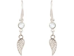 Gemshine Handmade - Ohrringe - Ohrhänger - Silber - Flügel - Onyx - Weiß - 3,5 cm -