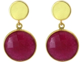Gemshine Handmade - Ohrringe - Ohrhänger - Vergoldet - Rubin - Rot - 2,5 cm -
