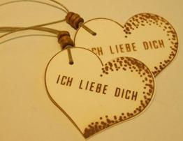 Geschenkanhänger ICH LIEBE DICH/ 2 STÜCK/ Präsentanhänger/ Valentinstag/ Herzanhänger/ Geschenkdekoration/ Glückwunschkärtchen/ Gift Tag/ Deko - Anhänger/ Holzschliffpappe/ Naturdeko -