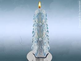 Geschnitzte Kerze blau weiss Weihnachtskerze Weihnachtsgeschenk Weihnachtsdeko Geschenkideen Geschenke für mama frauen freundin männer eltern Unikat -