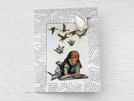 Glückwunschkarte für Leseratten, Geburtstagskarte mit Papierkranichen, Umschlag aus alten, zerliebten Buchseite, als Buchgutschein oder Grußkarte -