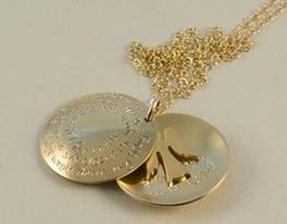 GOLD Medaillionkette mit Ihrer Wunschgravur 24K/925-Silber, Freundschaftskette, Engelkette -