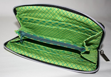große Geldbörse | Portemonnaie | Brieftasche | Geldbeutel | Clutch | umlaufender Reißverschluß | Handarbeit | Unikat | grün Sterne -
