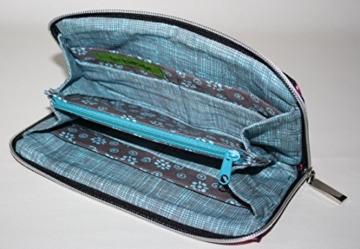 große Geldbörse | Portemonnaie | Brieftasche | Geldbeutel | Clutch | umlaufender Reißverschluß | Handarbeit | Unikat | rosa türkis Sterne -