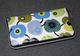 große Geldbörse | Portemonnaie | Brieftasche | Geldbeutel | Clutch | umlaufender Reißverschluß | Handarbeit | Unikat | blau grün Äpfel -
