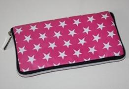 große Geldbörse | Portemonnaie | Brieftasche | Geldbeutel | Clutch | umlaufender Reißverschluß | Handarbeit | Unikat | rosa Sterne -