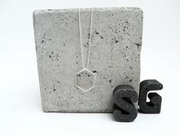 Halskette Geometrie Silber Hexagon Kugelkette in Geschenkbox -