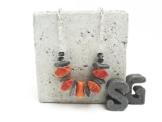Halskette Pillow Kissen Apfelkoralle Silber Gliederkette in Geschenkbox -