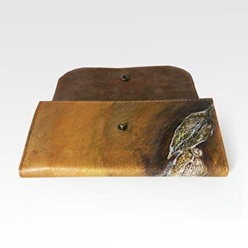 Handbemaltes Lederportemonnaie, Geldbeutel, Mini Clutch -