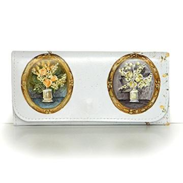 """Handbemaltes Lederportemonnaie """"Vintage-Style"""", Mini Clutch -"""
