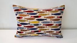 Handgefertigt Dekorative Sardinen Kissen Cover. Größe 35cm x 50cm und 45cm x 45cm. -