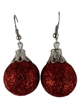 Handgemacht Weihnachtschmuck Ohrringe Weihnachten Schmuck Hänger Christbaumkugel Weihnachtskugel Baumschmuck Polystyrol leicht am Ohr rot Glitzer K180 -