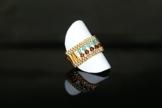 """Handgewebter Ring """"Kaleidoskop"""" aus japanischen Glasperlen mit SWAROVSKI Kristallen -"""
