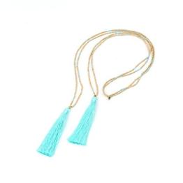 Handmade Bali Halskette mit doppelter Türkis Quaste -