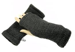 Handstulpen anthrazit - Wollstulpen - Hand gestrickt - warm und weich -