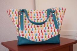 Handtasche Schultertasche aus Designerstoffen, vergrößerbar, Handgefertigt Einzelstück Unikat -