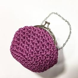 HELENA - Handmade in Italy - Handtasche elegant. Kleine Kupplung. Rosa. Evening pink clutch purse / coin wallet, with vintage kiss clasp. -