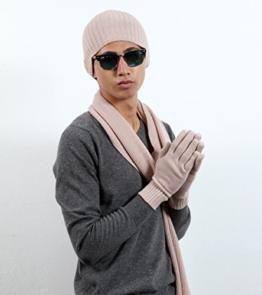 Herren 100% Cashmere Beanie Handschuhe und Schal Luxus Kaschmir Winter GIFT Set, Strick Mongolian Kaschmir Garne (High End) Kaschmir (26/2 Garn Zusammensetzung) Blasses Rosa Colour -