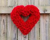Herz-Kranz* Valentinstag* Hochzeit* Dekoration* Geschenk*Handmade *Rot* ca 18cm -