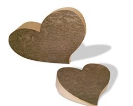 Herzen Set aus Buchenholz mit Rinde rustikal -