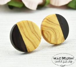 Holz Ohrstecker zweifarbig Ø11mm Olivenholz Wenge Wood earrings Fake Plugs Ohrringe hölzerne Mini Ohrringe kleine runde Holzohrstecker individualisierbar Illusion -
