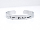 I LOVE you to the MOON and BACK Sterne Mond Aluminium Armreif 15 cm lang -