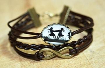 Infinity Freundschafts Scherenschnitt Lederarmband braun/bronze, 16-17cm, handmade -
