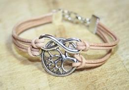 Infinity und Lebensbaum Freundschafts Lederarmband natur-rosa/silber, 16-17cm, handmade -
