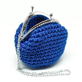 INGRID - Handmade in Italy - Handtasche elegant. Kleine Kupplung. Blau. Evening blue clutch purse / coin wallet, with vintage kiss clasp. -