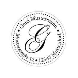 Initial-Stempel mit Adresse, Monogramm-Stempel, Stempel mit Motiven, Adress-Stempel personalisiert rund 40 mm, selbstfärbend mit integriertem Stempelkissen, Automatikstempel, Buchstaben von A-Z wählbar. -