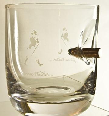 Johnnie Walker Whisky Glas WhiskyGläser mit realem Geschoß Kaliber-Typ FMJ 7,85/.308 . Mit Gravur Option. Einzigartiges Geschenk -