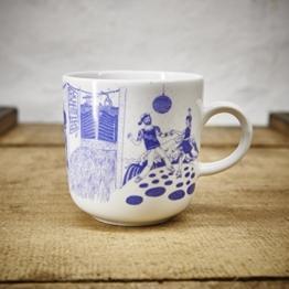 Kaffeebecher / Becher Hafenkneipe maritimes Design - Porzellan blau-weiss von Ahoi Marie - -