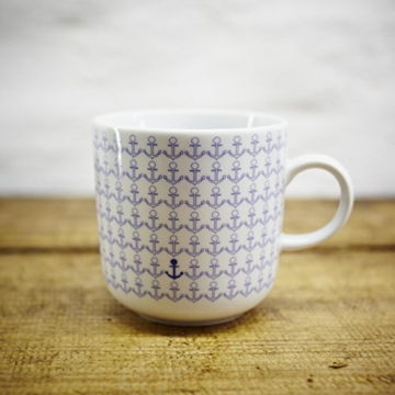 Kaffeebecher / Becher maritimes Design Anker, Ankermuster- Porzellan blau-weiss von Ahoi Marie -