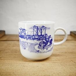 Kaffeebecher / Becher maritimes Design Hafenliebe - Porzellan blau-weiss von Ahoi Marie -