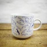 Kaffeebecher / Becher maritimes Design Möven, Seemöven- Porzellan blau-weiss von Ahoi Marie -