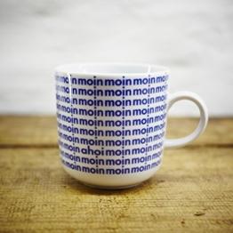 Kaffeebecher / Becher maritimes Design Moin - Porzellan blau-weiss von Ahoi Marie -