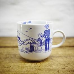 Kaffeebecher / Becher Oberwasser maritimes Design - Porzellan blau-weiss von Ahoi Marie -