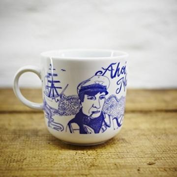 Kaffeebecher / Becher Piet maritimes Design – Porzellan blau-weiss von Ahoi Marie -